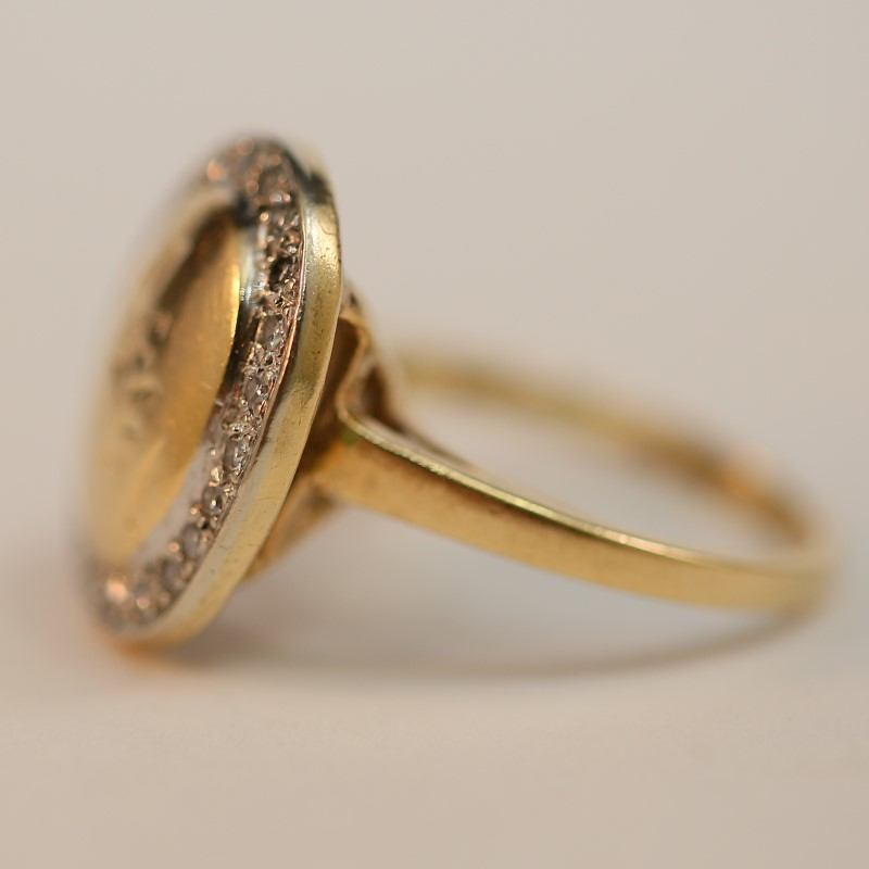 Asian Lettering Engraved 14K Yellow Gold and Diamond Ring Size 4.25
