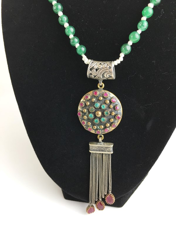 Vintage Ruby Emerald Jade Pearl Sterling Silver Necklace