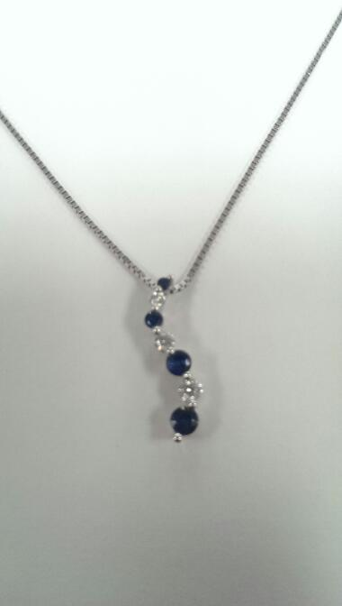 "20"" Sapphire Diamond & Stone Necklace 3 Diamonds .22 Carat T.W. 14K White Gold"