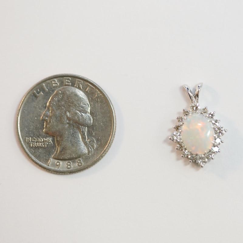 14K White Gold Opal and Diamond Pendant