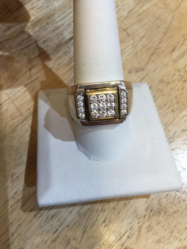 White Stone Gent's Stone Ring 8K 2 Tone Gold 13.3g