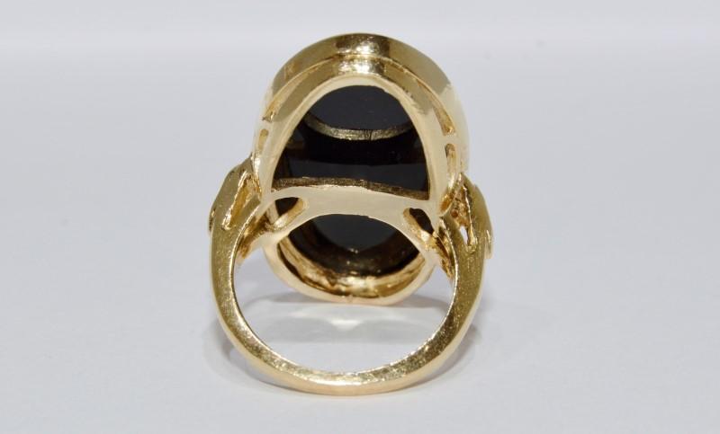 14K Yellow Gold Vintage Inspired Large Flush Bezel Set Black Onyx Cocktail Ring