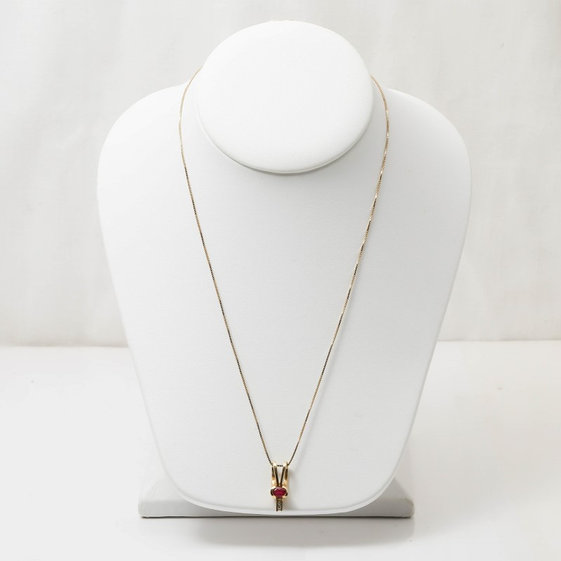 "18"" 14K Yellow Gold Ruby Charm Necklace with Box Link Chain"