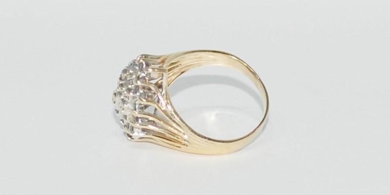 14K Yellow Gold Wide Set Split Shank Diamond Cluster Waterfall Ring sz 9.25