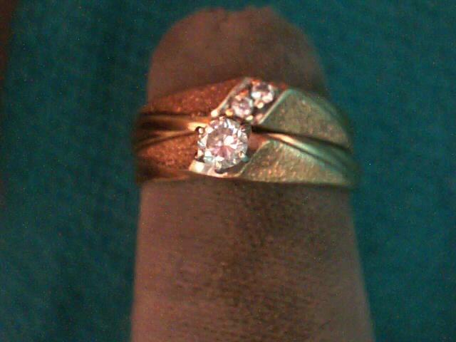 Lady's Diamond Wedding Set 3 Diamonds .17 Carat T.W. 14K Yellow Gold 2.4dwt