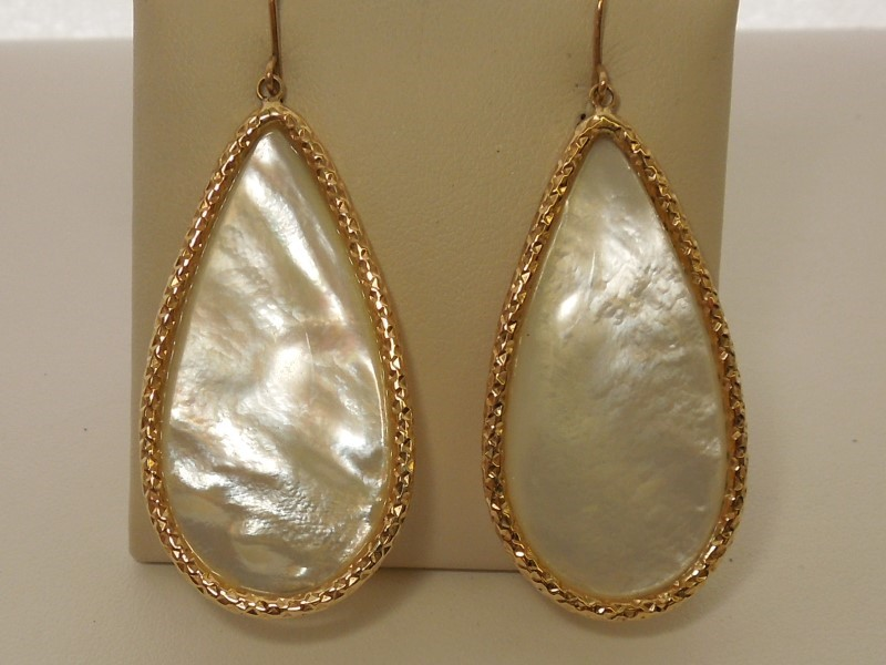 Synthetic Mother Of Pearl Gold-Stone Earrings 14K Yellow Gold 9.5g