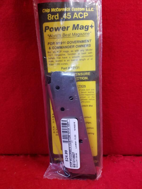 Chip McCormick Custom 12131 1911 Power Mag + 45 ACP 8 rd Stainless