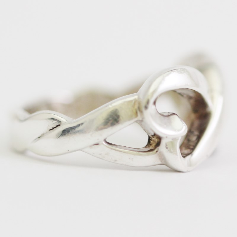 Paloma Picasso T&CO Sterling Silver Intertwined Double Heart Ring Size 7.75