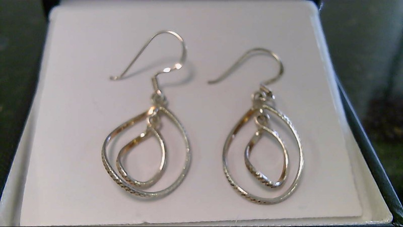 lady's sterling silver oval dangle fish hook earrings