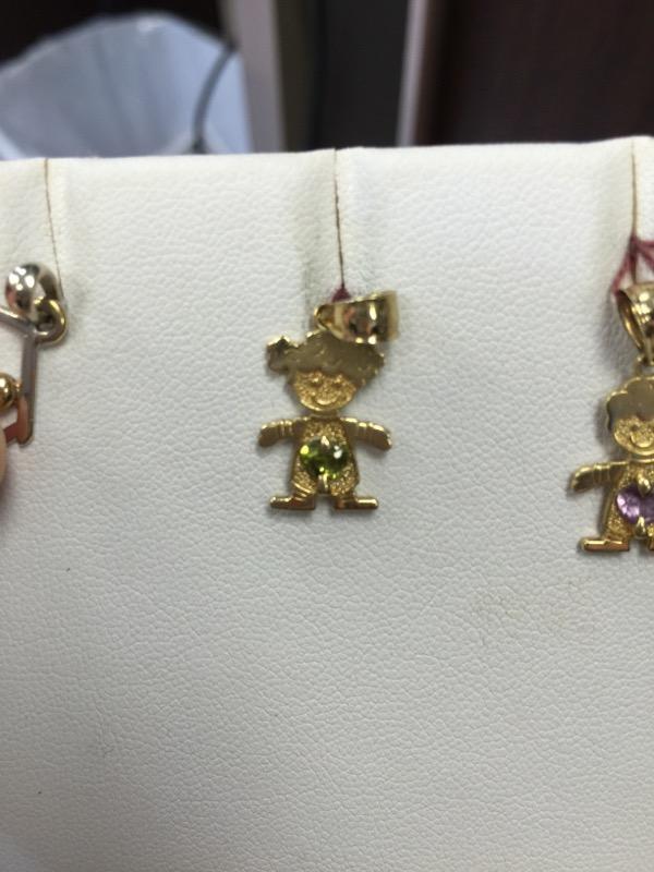 Synthetic Peridot Gold-Stone Pendant 14K Yellow Gold 1g