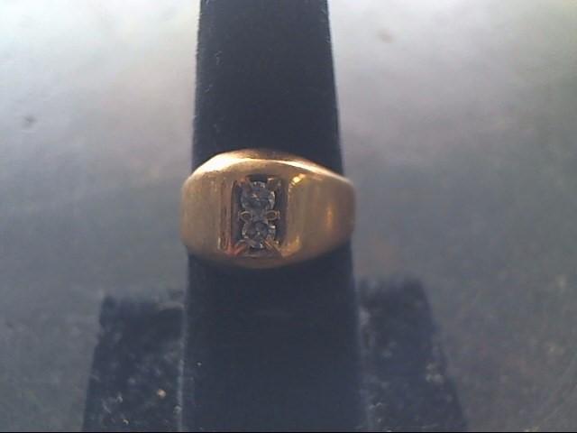 Gent's Diamond Fashion Ring 2 Diamonds .26 Carat T.W. 10K Yellow Gold 2.3dwt
