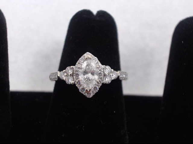 Lady's Diamond Cluster Ring 60 Diamonds 1.37 Carat T.W. 14K White Gold 2.3g