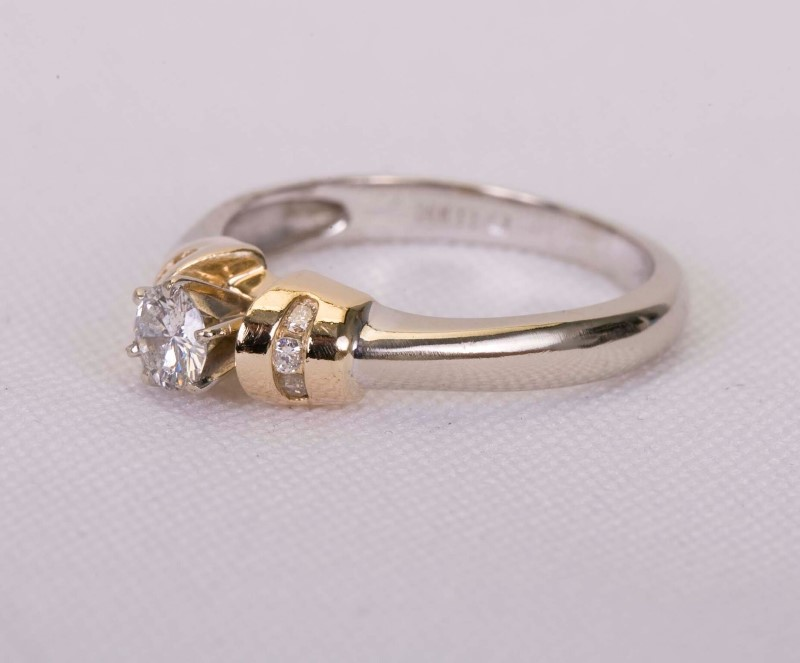 Lady's Diamond Engagement Ring 7 Diamonds .43 Carat T.W. 14K 2 Tone Gold 3.5g