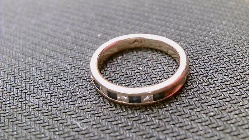 Sapphire Lady's Stone & Diamond Ring 3 Diamonds .15 Carat T.W. 14K Yellow Gold