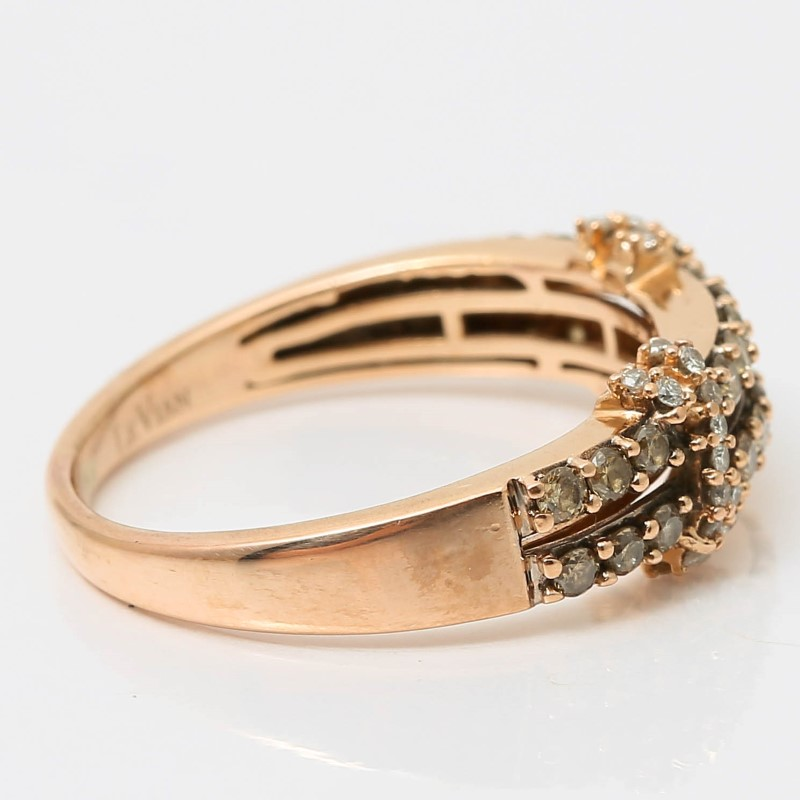 14K Rose Gold 2 Band Bead Set Chocolate Vanilla Diamond Ring Size 8 Fall