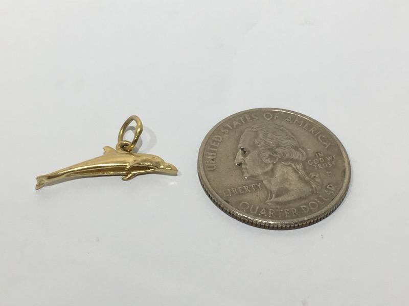 14K Yellow Gold 3D Bottlenose Dolphin Dangle Charm Pendant