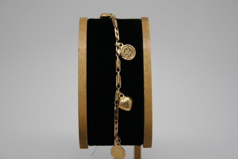 COIN & HEART CHARM BRACELET 18K YELLOW GOLD