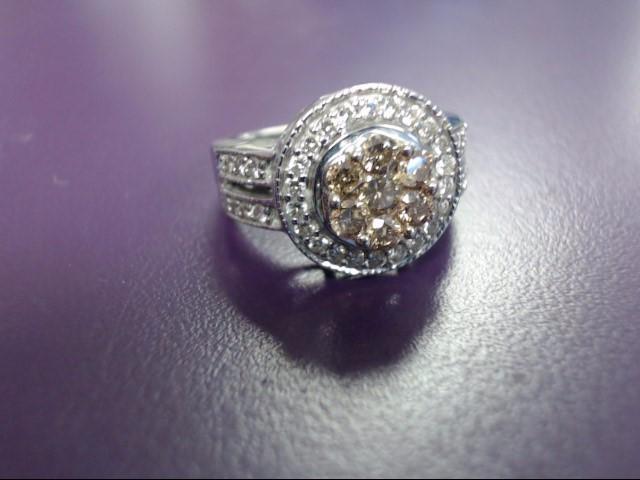 Lady's Diamond Cluster Ring 44 Diamonds .51 Carat T.W. 14K White Gold 5.6g