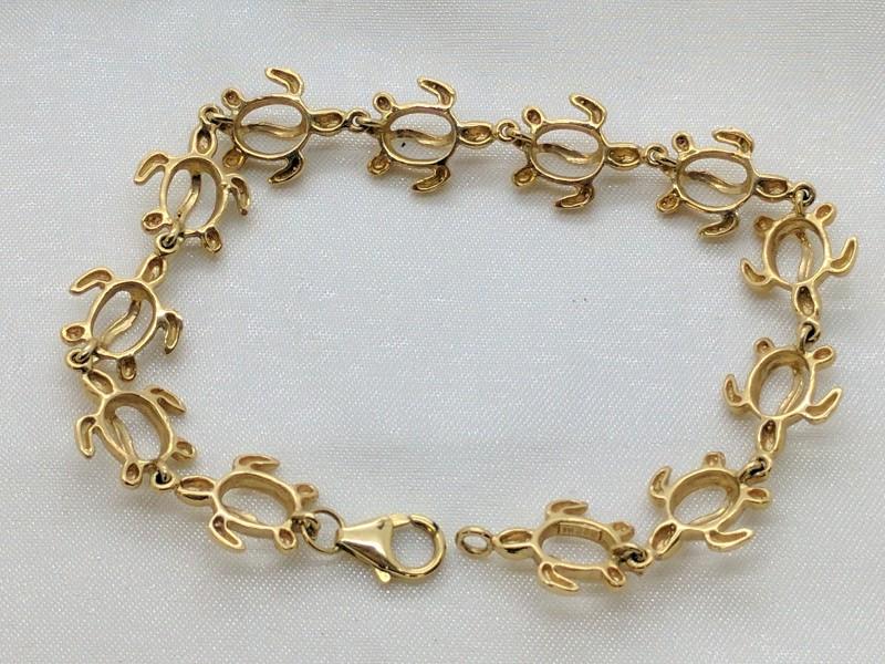 "Honu Turtle Bracelet Yellow Gold 14k Na Hoku 7"""
