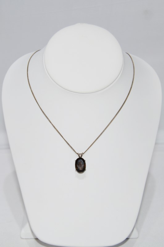 "18"" Sterling Silver Oval Smokey Topaz Pendant Necklace on Fine Chain"