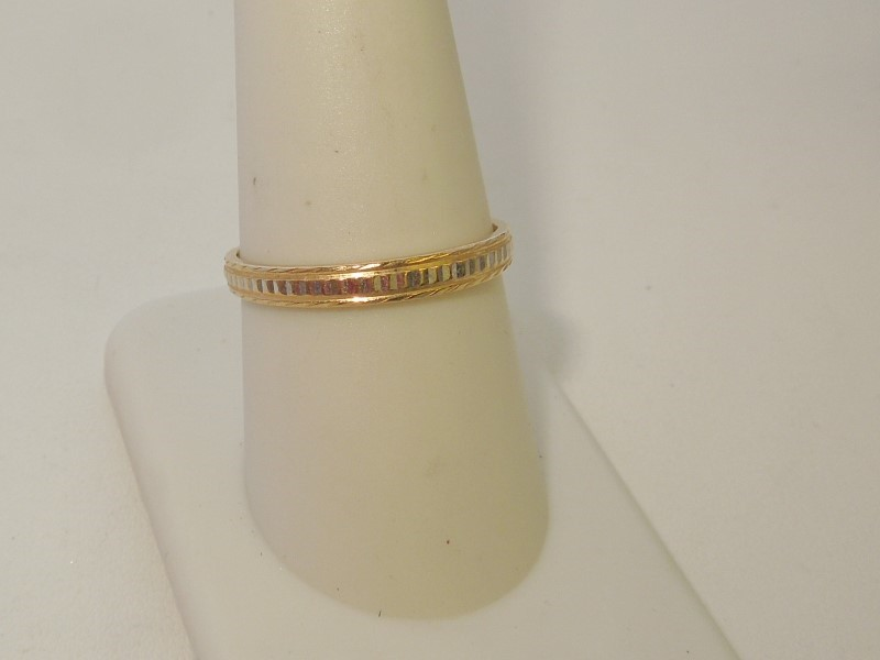 Lady's Gold Wedding Band 14K 2 Tone Gold 2g Size:9