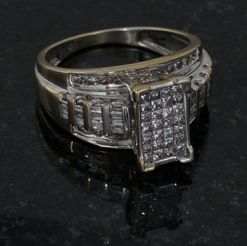 Lady's Diamond Cluster Ring 82 Diamonds 2.46 Carat T.W. 10K White Gold 3dwt