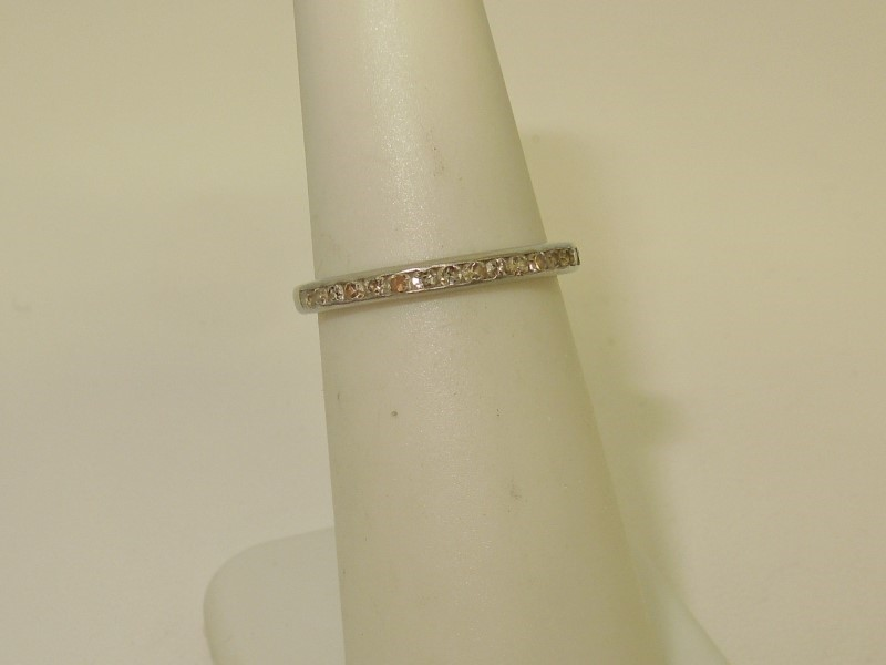 Antique Lady's Platinum-Diamond Wedding Band 17 Diamonds .051 Carat T.W.