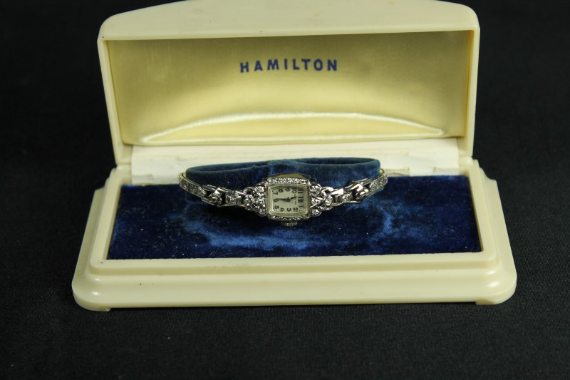 Lady's 14K White Gold Round Diamond Hamilton Watch