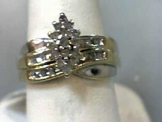 Lady's Diamond Wedding Set 27 Diamonds .27 Carat T.W. 10K Yellow Gold 3.2dwt