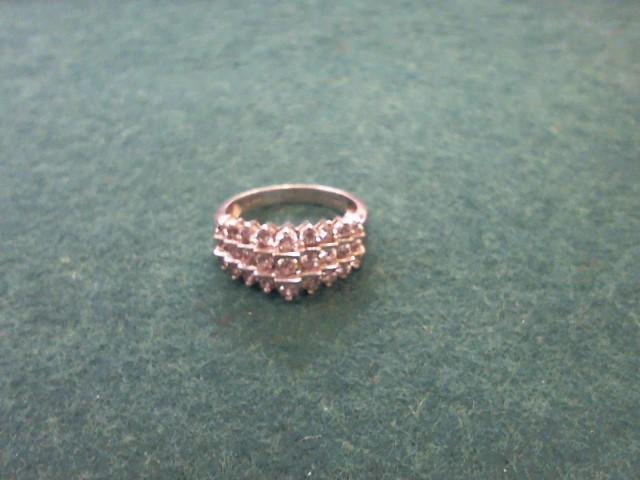Lady's Diamond Cluster Ring 27 Diamonds .81 Carat T.W. 10K White Gold 3.8g