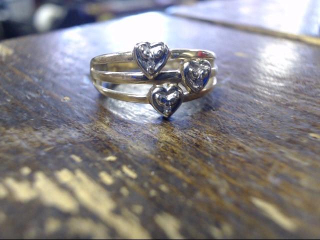 Lady's Diamond Cluster Ring 3 Diamonds .003 Carat T.W. 10K Yellow Gold 2.5g