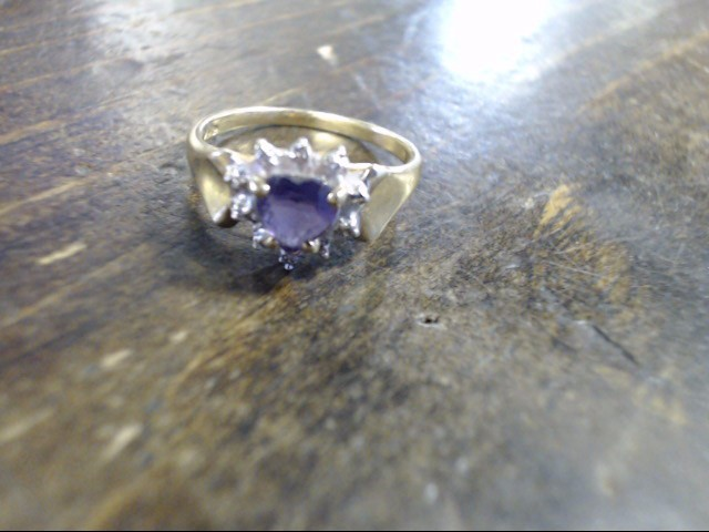 Purple Stone Lady's Stone Ring 14K Yellow Gold 1.9g Size:4.5