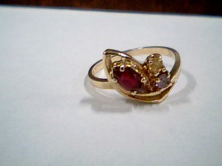 Synthetic Ruby Lady's Stone Ring 10K Yellow Gold 1.8g Size:5.3