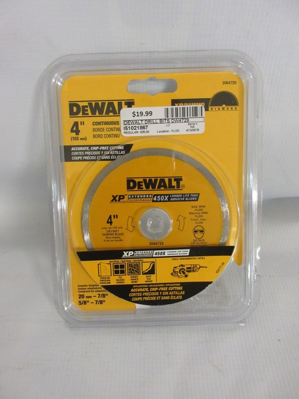 "DEWALT Drill 4"" Continuous Rim XP Diamond Saw Blad DW4729"