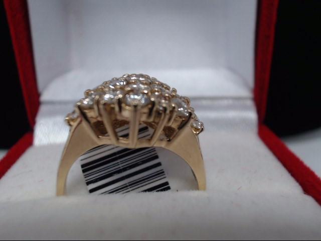Lady's Diamond Solitaire Ring 16 Diamonds 1.12 Carat T.W. 10K Yellow Gold 3.7g