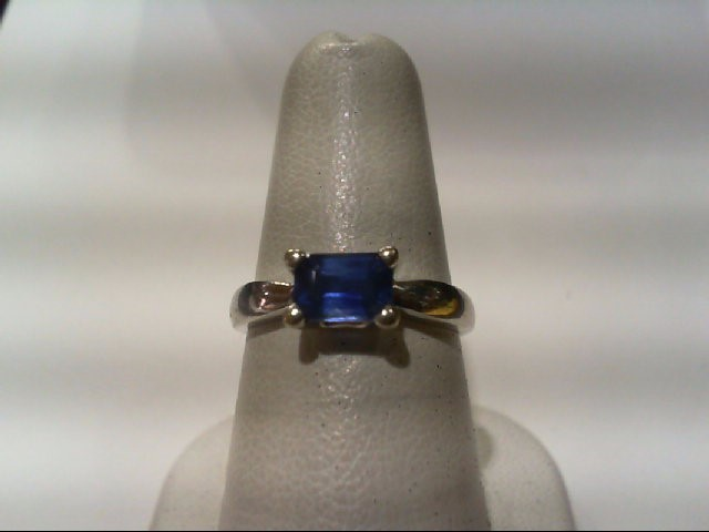 Sapphire Lady's Stone Ring 14K White Gold 2.9g
