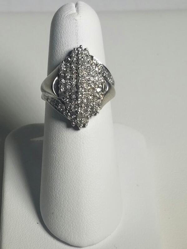 Lady's Diamond Cluster Ring 100 Diamonds 1.00 Carat T.W. 10K White Gold 3.85dwt