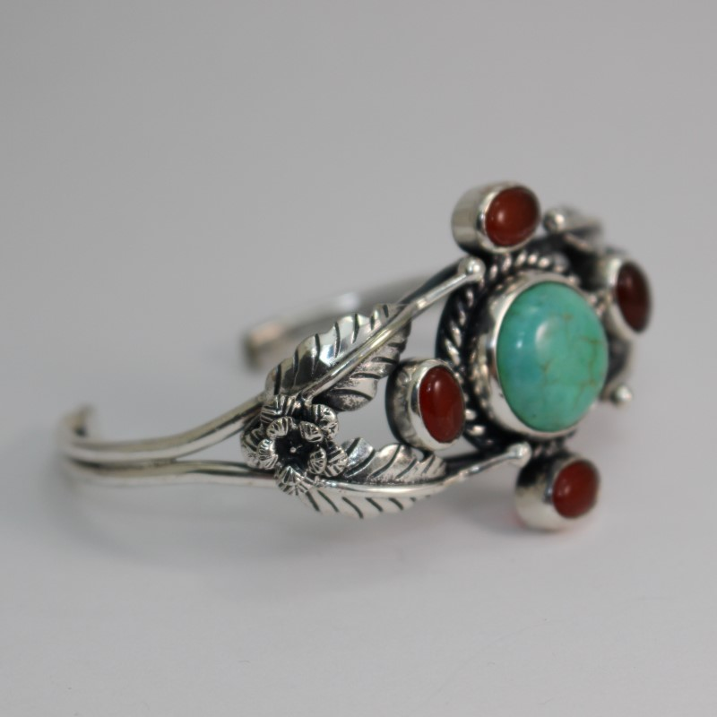 Round Turquoise & Cabochon Cut Carnelian Silver Cuff Bracelet