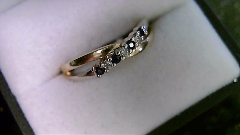 Sapphire Lady's Stone & Diamond Ring 3 Diamonds .03 CTTW 10K Yellow Gold