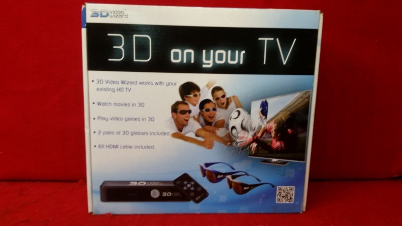 3D Video Wizard 3DVW01 Console w/ Two 3D glasses -Turns 2D HDTV into 3D TV