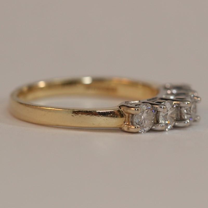 14k Yellow Gold Bead Set Round Brilliant Diamond Wedding Band Size 7