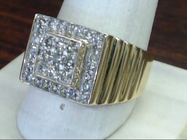 VINTAGE DIAMOND CLUSTER RING SOLID REAL 14K GOLD MEN SQUARE RIB 11.5