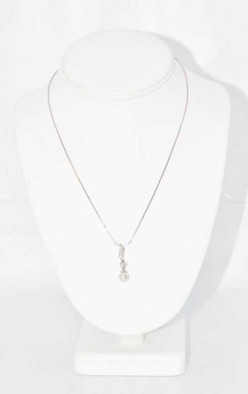 "16"" 14K White Gold Diamond and Pearl Heart Drop Necklace"