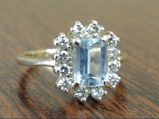VINTAGE AQUAMARINE BLUE TOPAZ DIAMOND RING SOLID 14K GOLD SZ 5.25