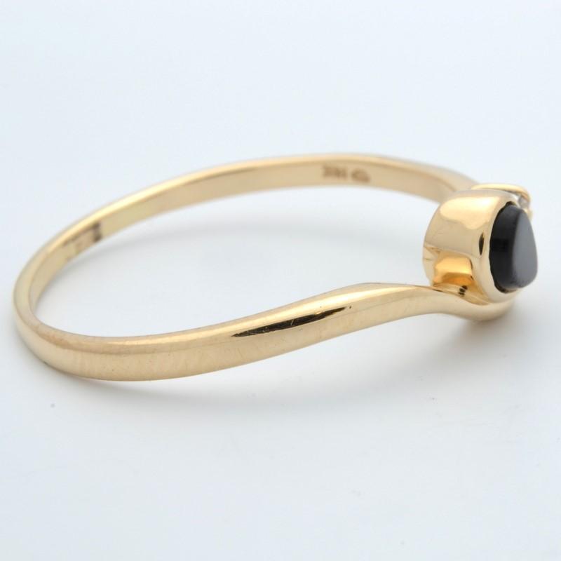 ESTATE DIAMOND BLACK ONYX RING SOLID 14K GOLD PEAR CUT DROP SZ 11.25