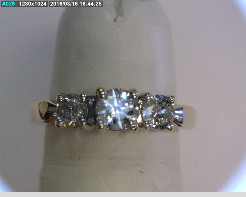 Lady's Gold-Diamond Anniversary Ring 3 Diamonds .52 Carat T.W. 14K White Gold