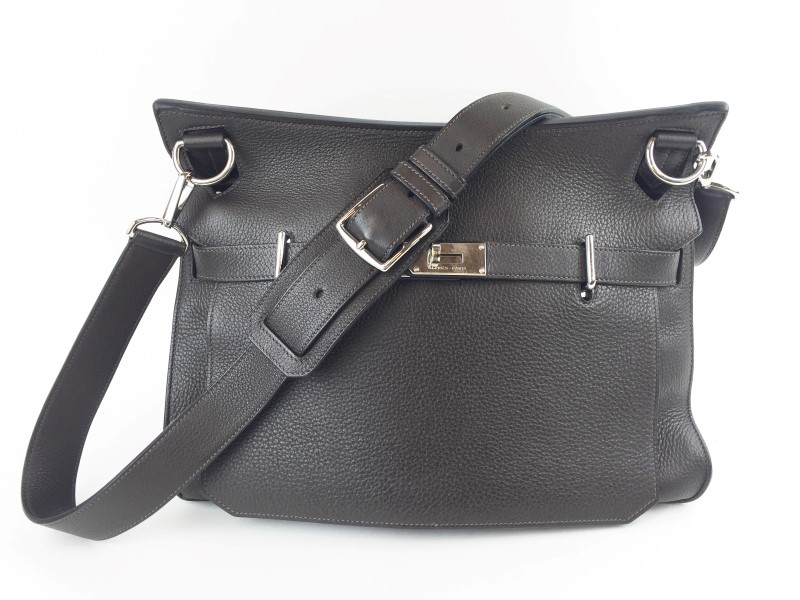 HERMÈS Handbag JYPSIERE CLEMENCE 37 DARK BROWN SHOULDER BAG