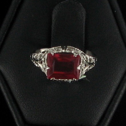 Red Stone Lady's Stone Ring 10K White Gold 1dwt