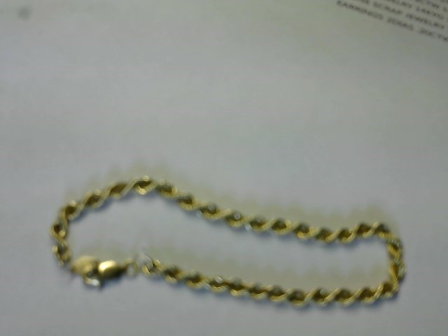 Gold Rope Bracelet 14K Yellow Gold 3.1g