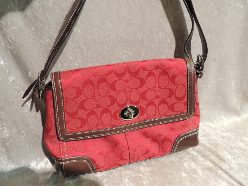 Coach F13972 Hampton Sig Flap Red Jacquard Leather Hobo Bag with Wallet